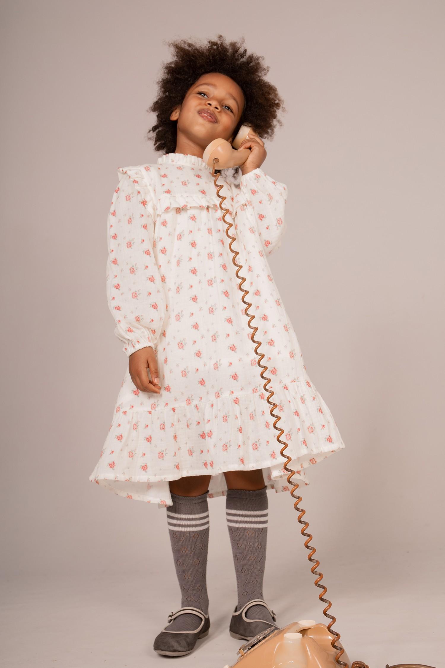 ROSE PRINT MUSLIN DRESS
