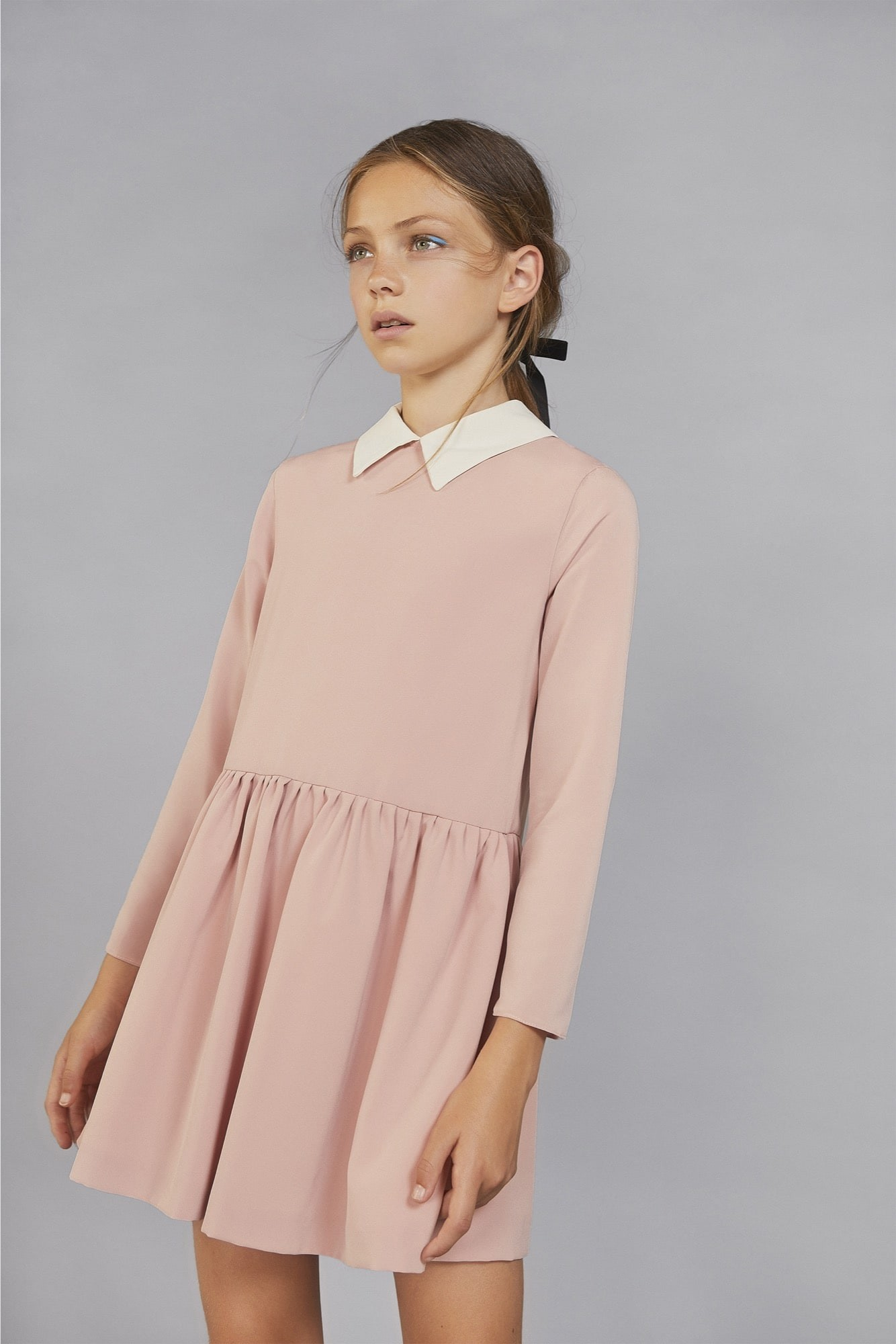 CREPE COLLARED DRESS