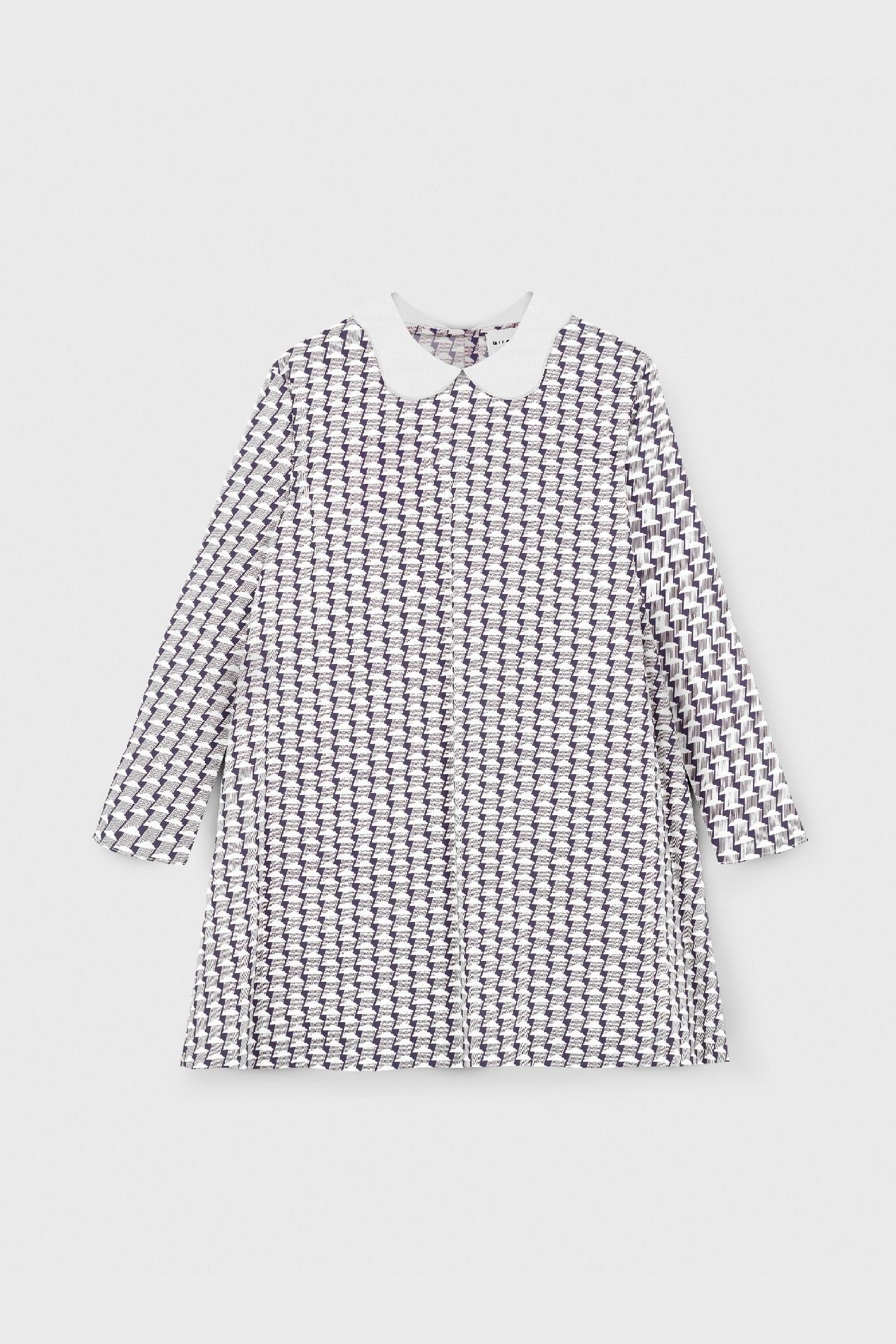 POPLIN PRINTED COLLARED DRESS