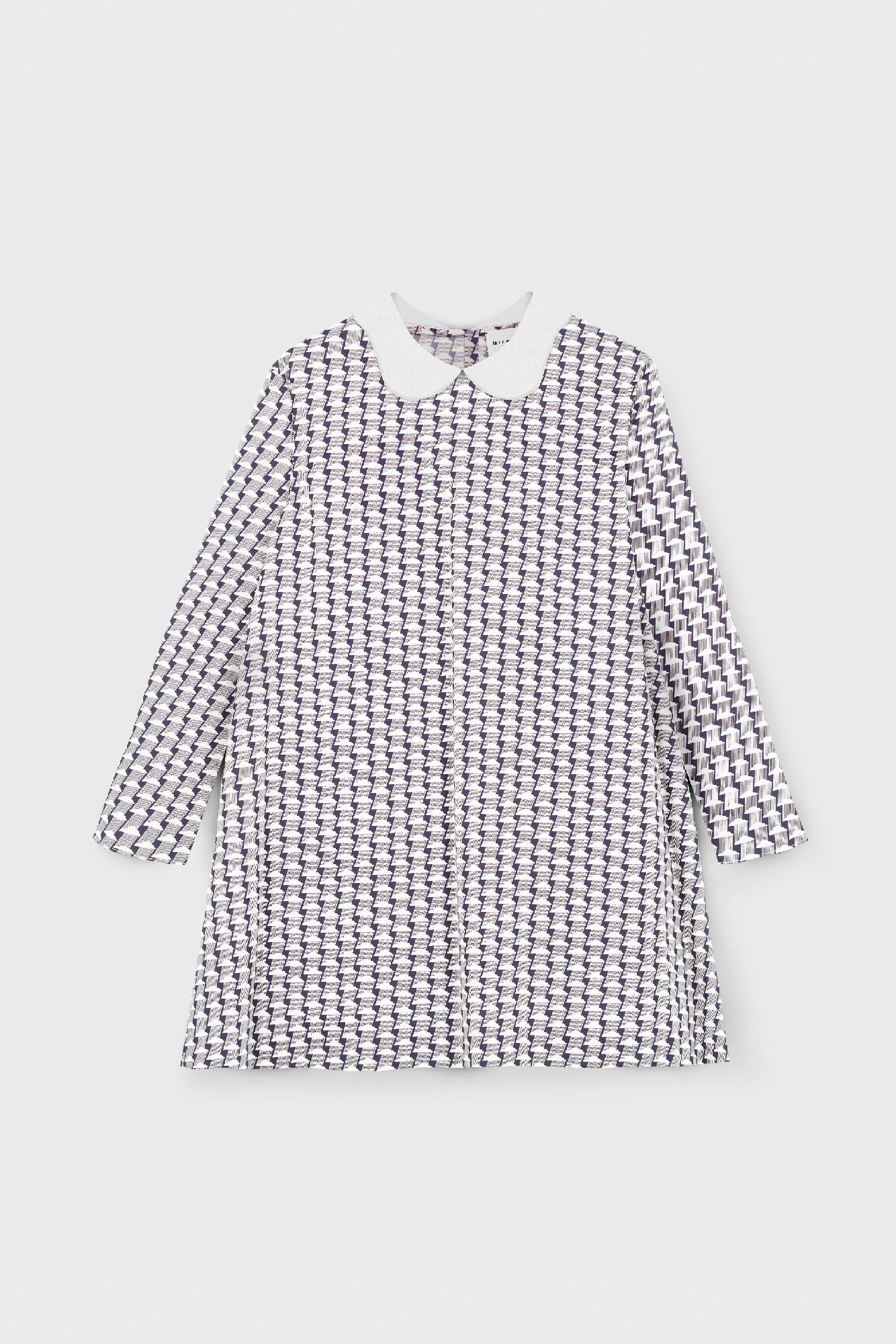POPLIN PRINTED COLLARED DRESS