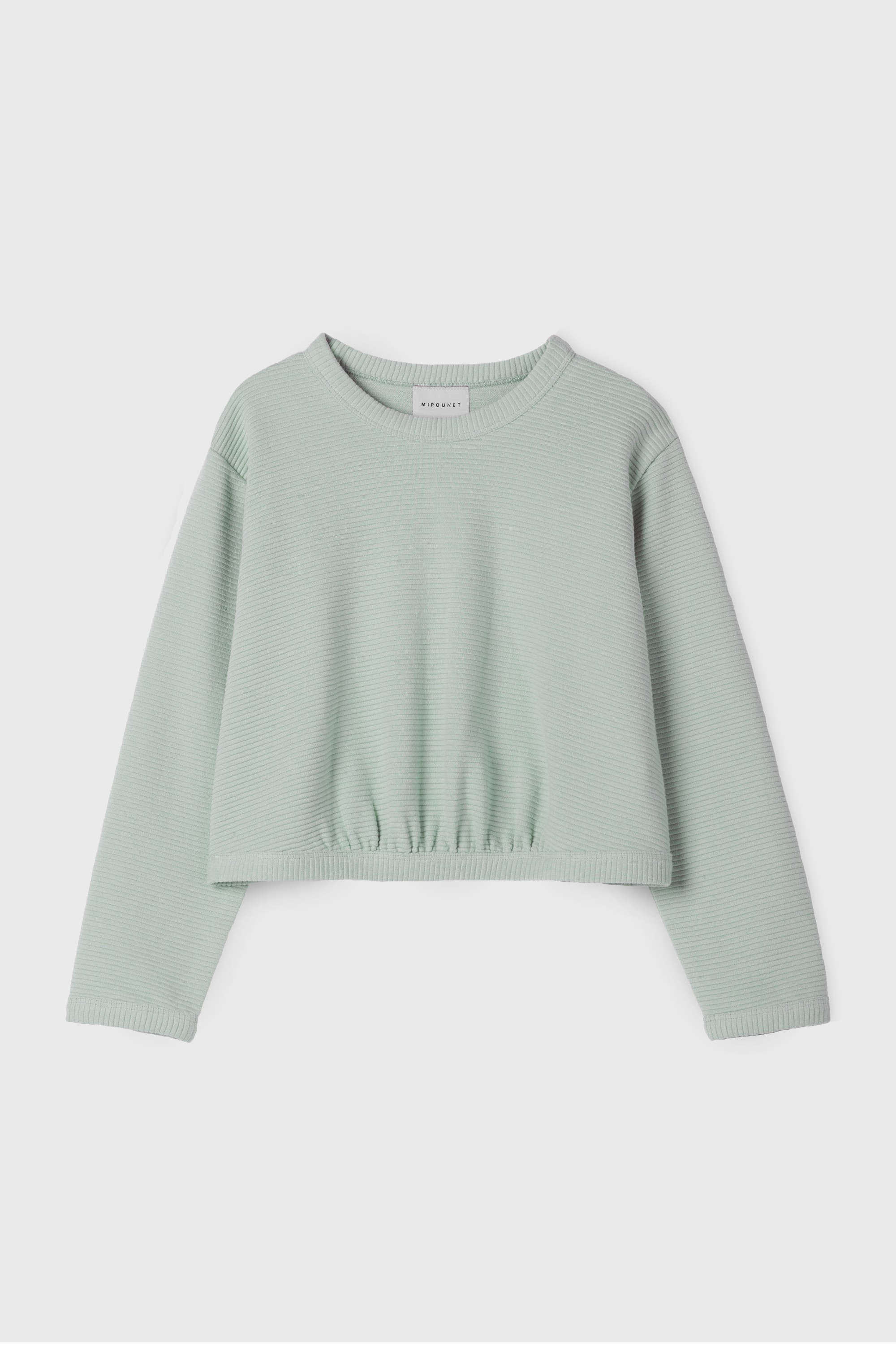 GREEN SHIRRED SWEATSHIRT