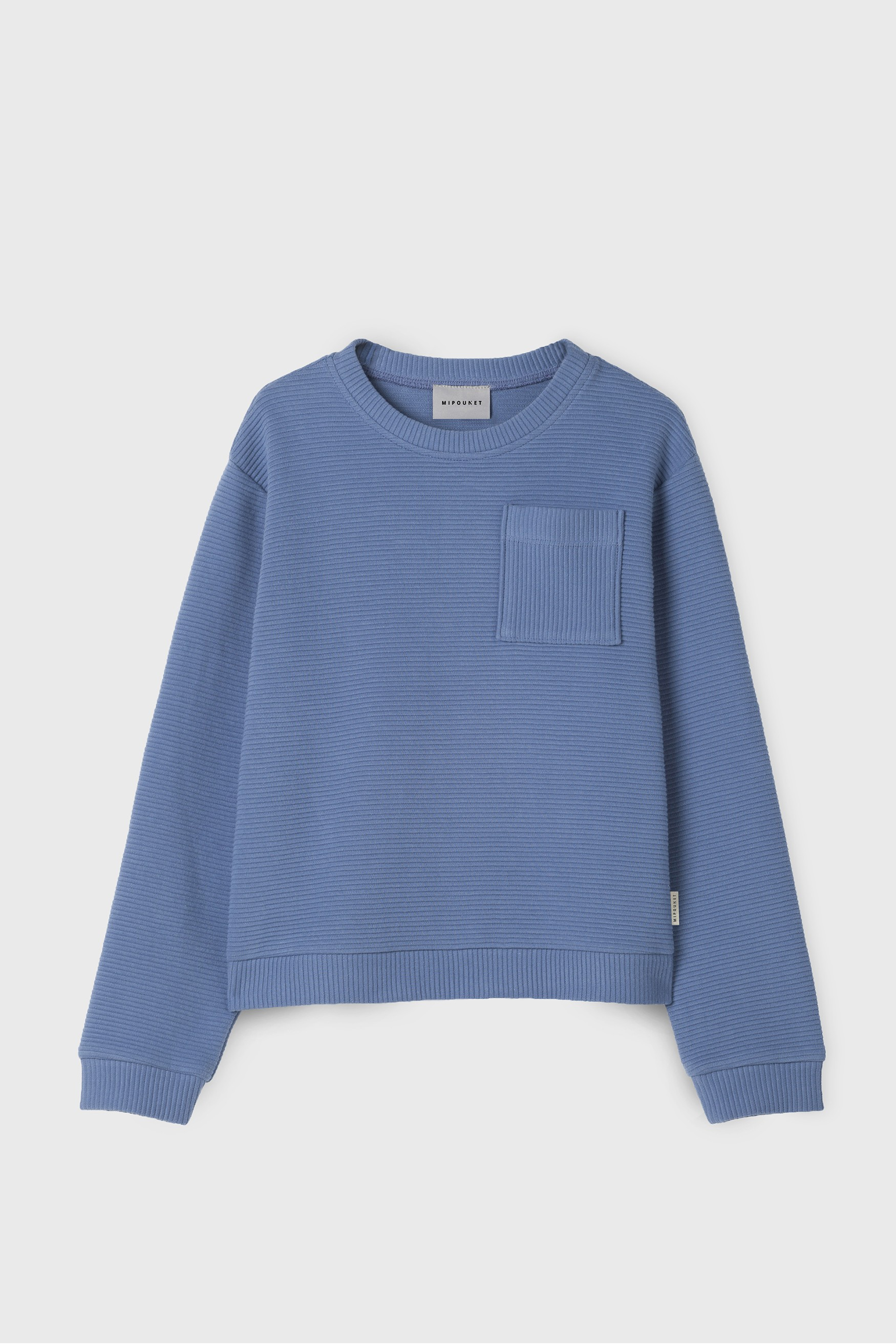 BLUE POCKET DETAIL SWEATSHIRT