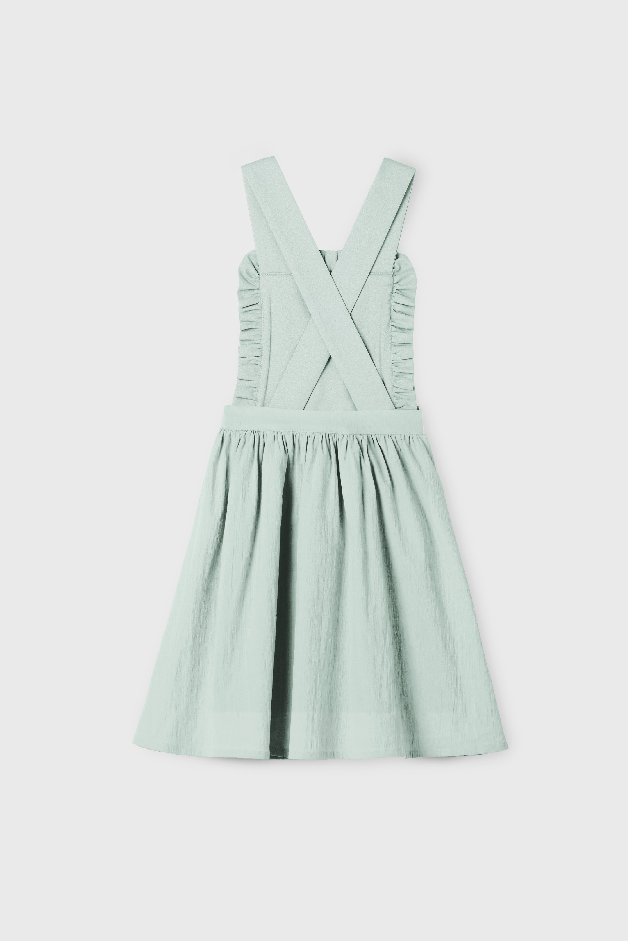 GREEN RUFFLE POPELIN FRISÉE DRESS