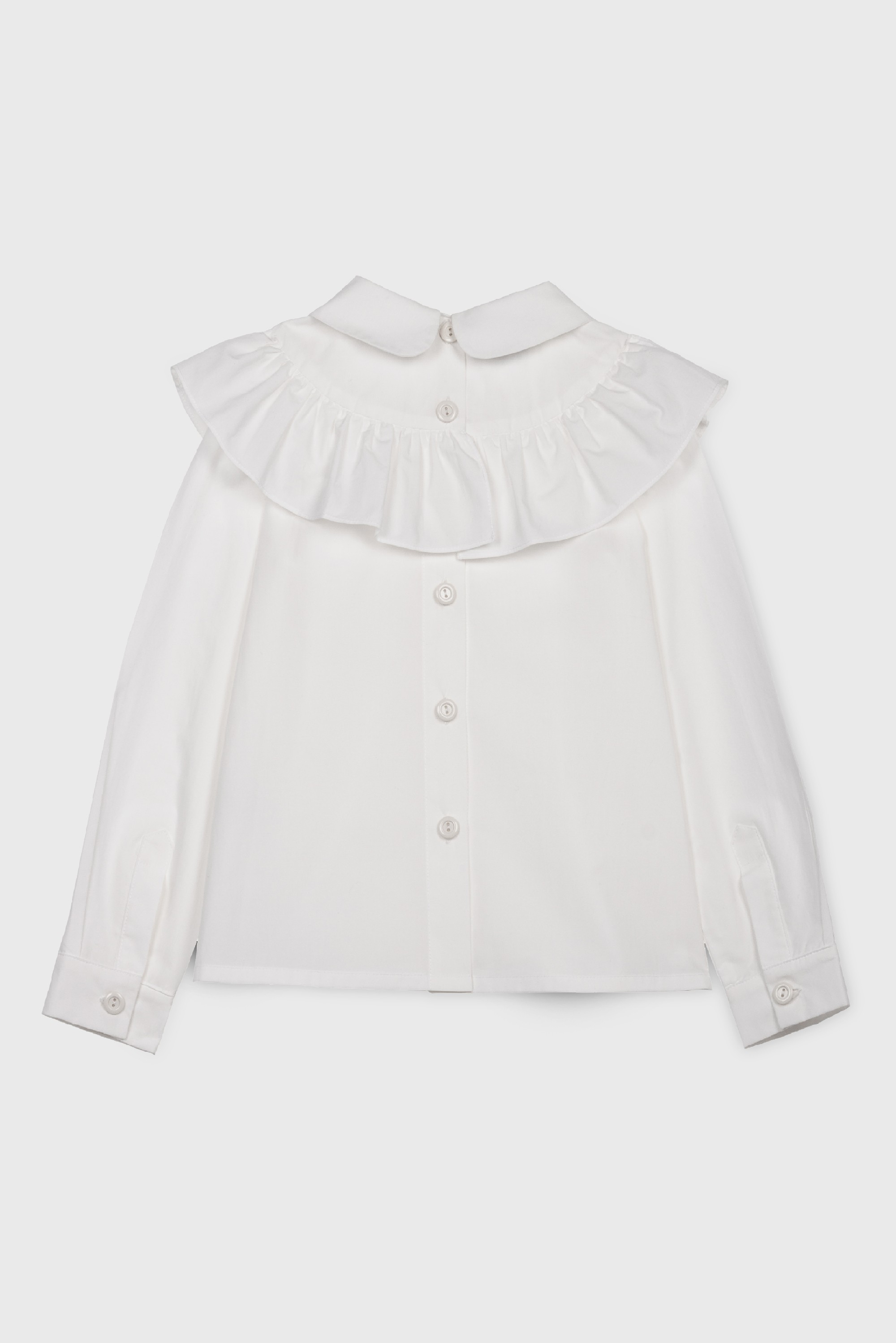 WHITE RUFFLE COLLARED BLOUSE