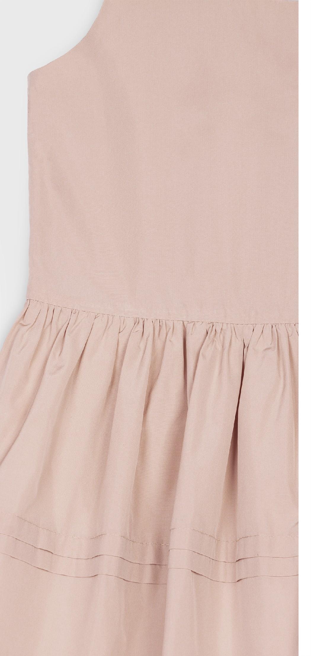 PINK TAFFETA PLEATED DRESS