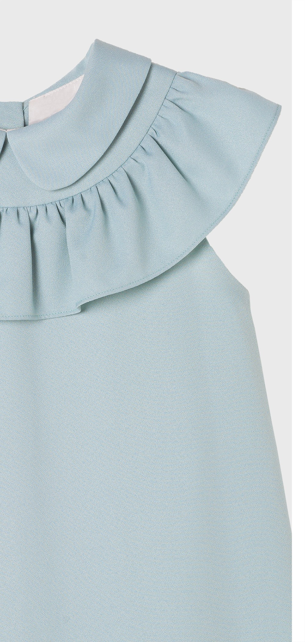 BLUE RUFFLE COLLARED CREPE DRESS