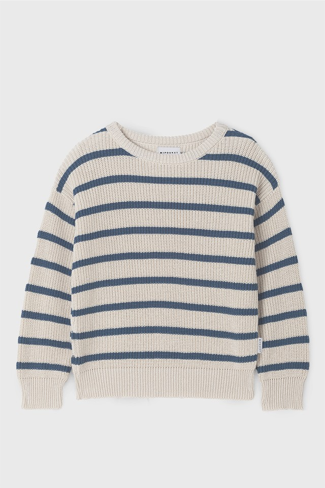 KNIT JUMPER WITH BLUE STRIPES