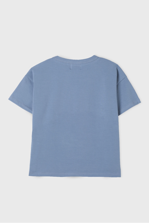 BLUE COTTON JERSEY  T-SHIRT