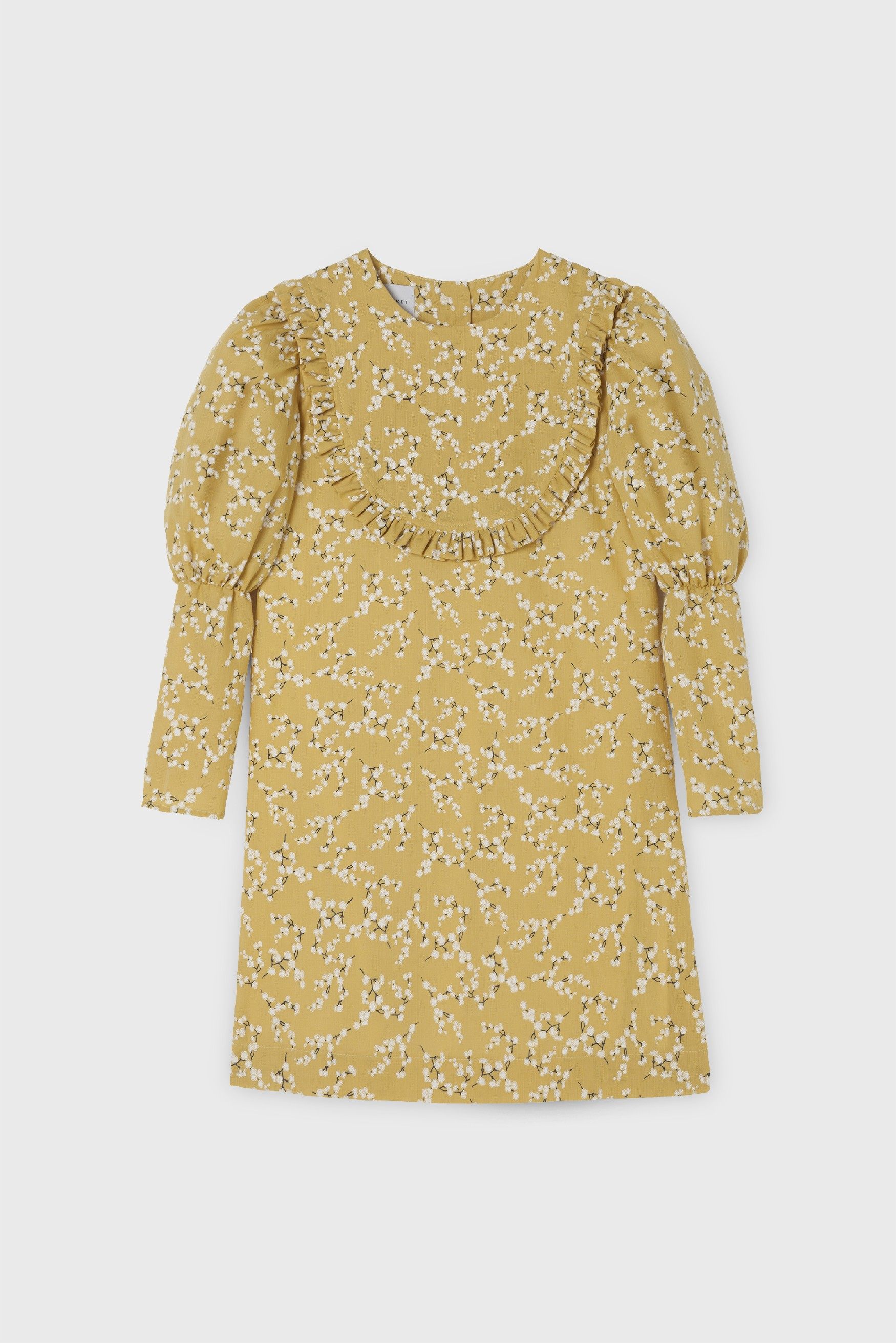 YELLOW GASA NECKLACE DRESS
