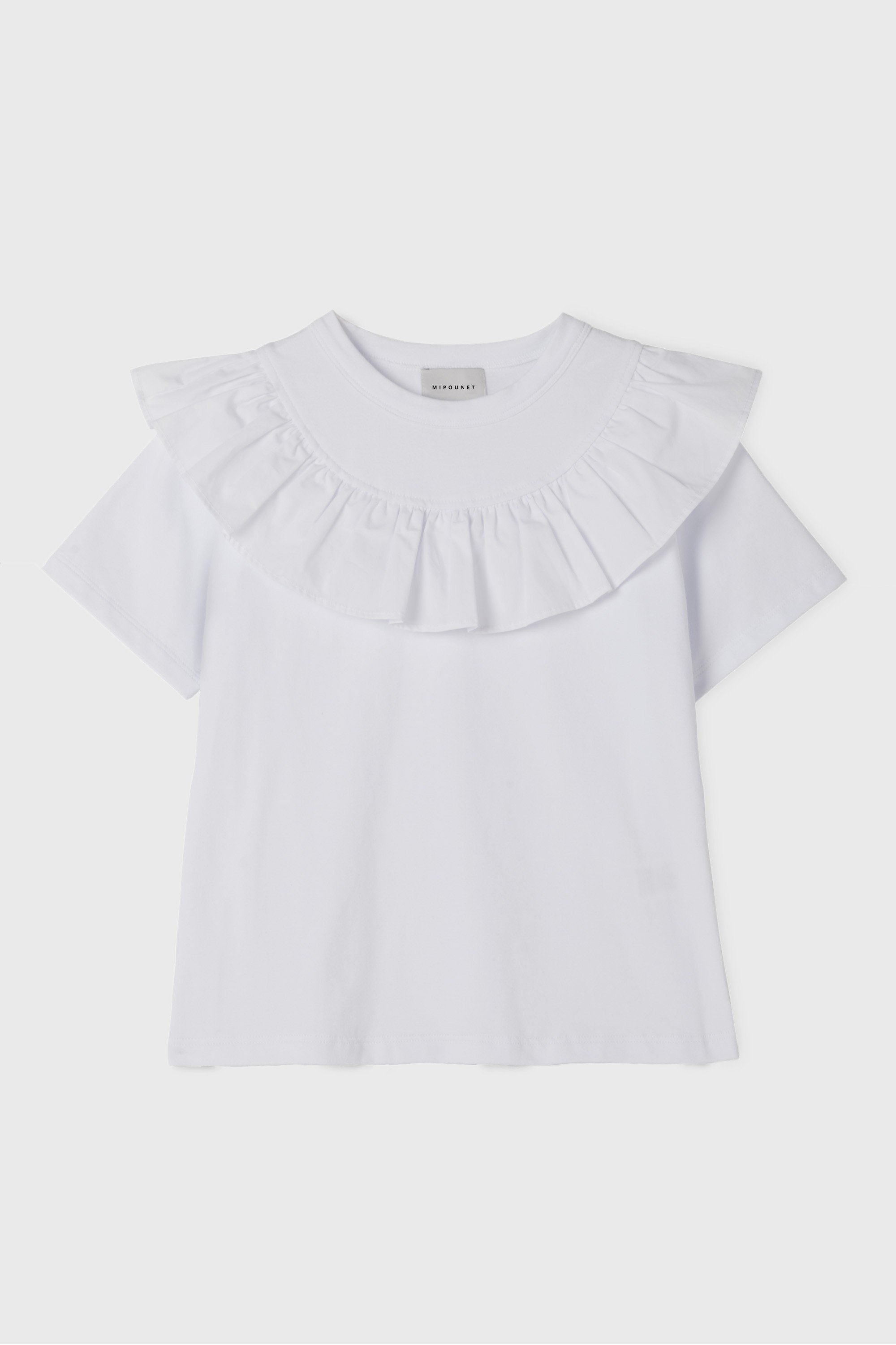 WHITE RUFFLE COLLARED T-SHIRT