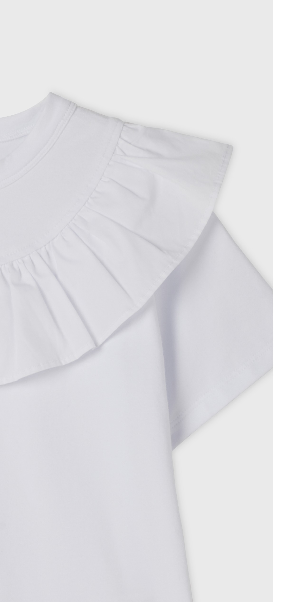 WHITE RUFFLE COLLARED T-SHIRT