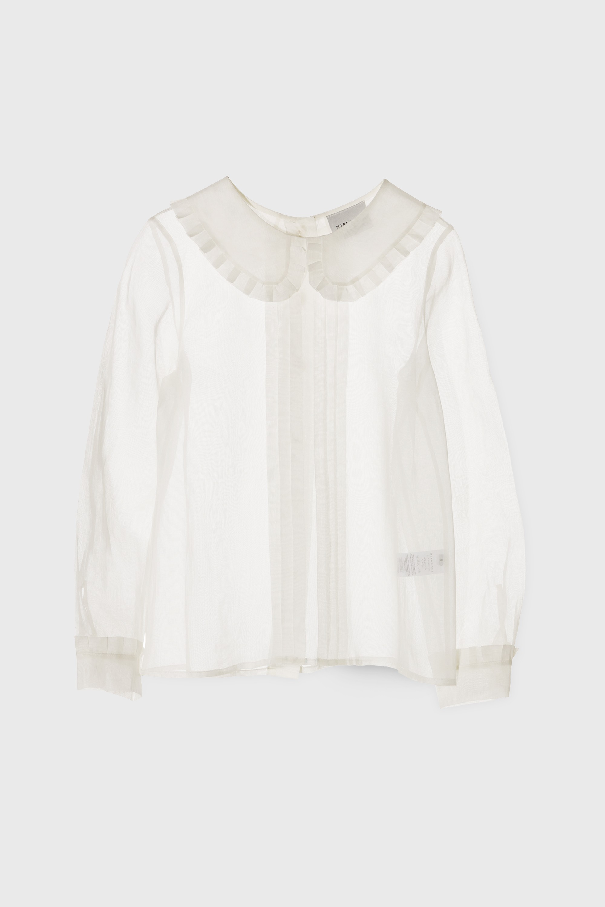 COTTON WHITE ORGANZA COLLARED BLOUSE