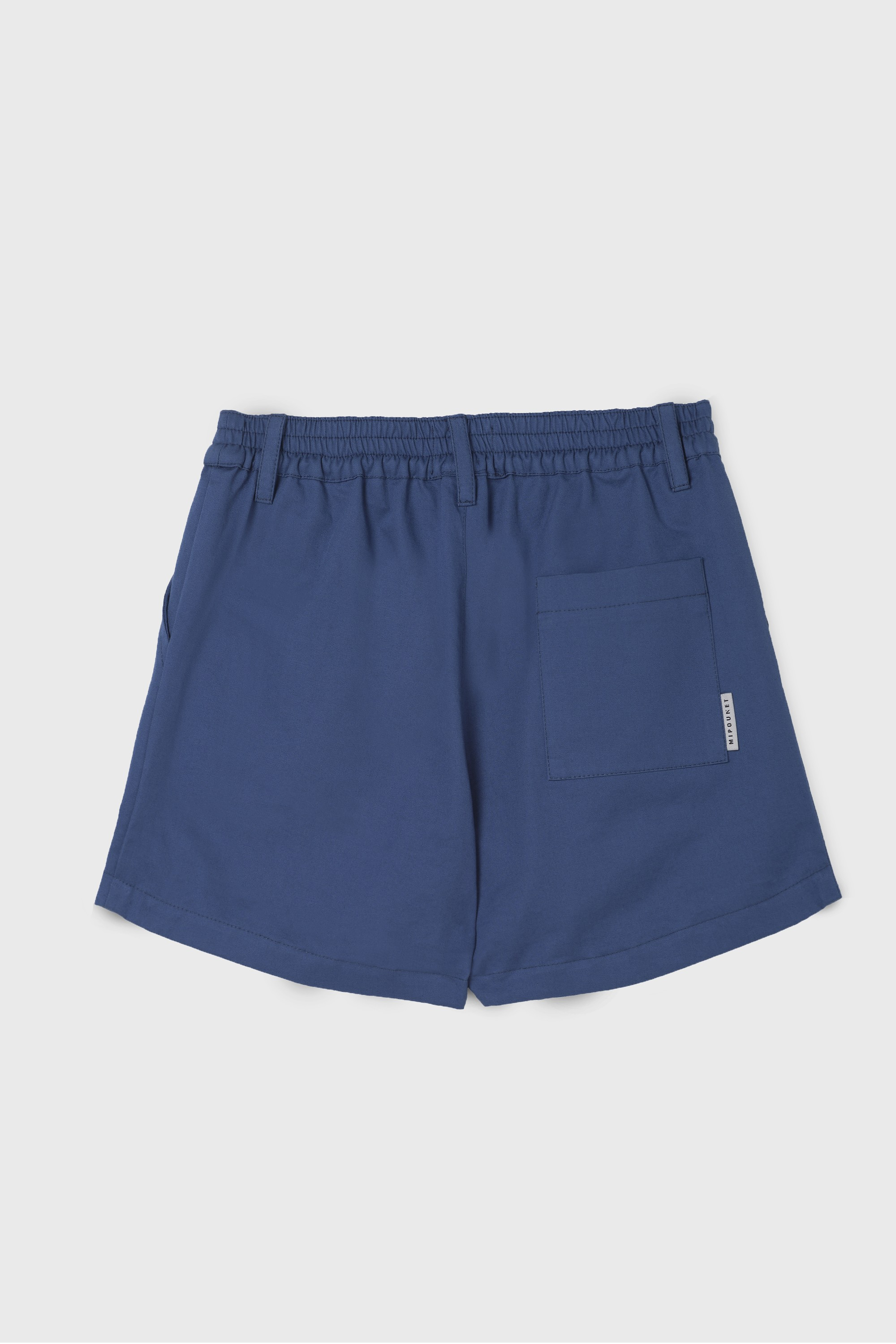 BLUE COTTON GABARDINE PLEATED SHORT