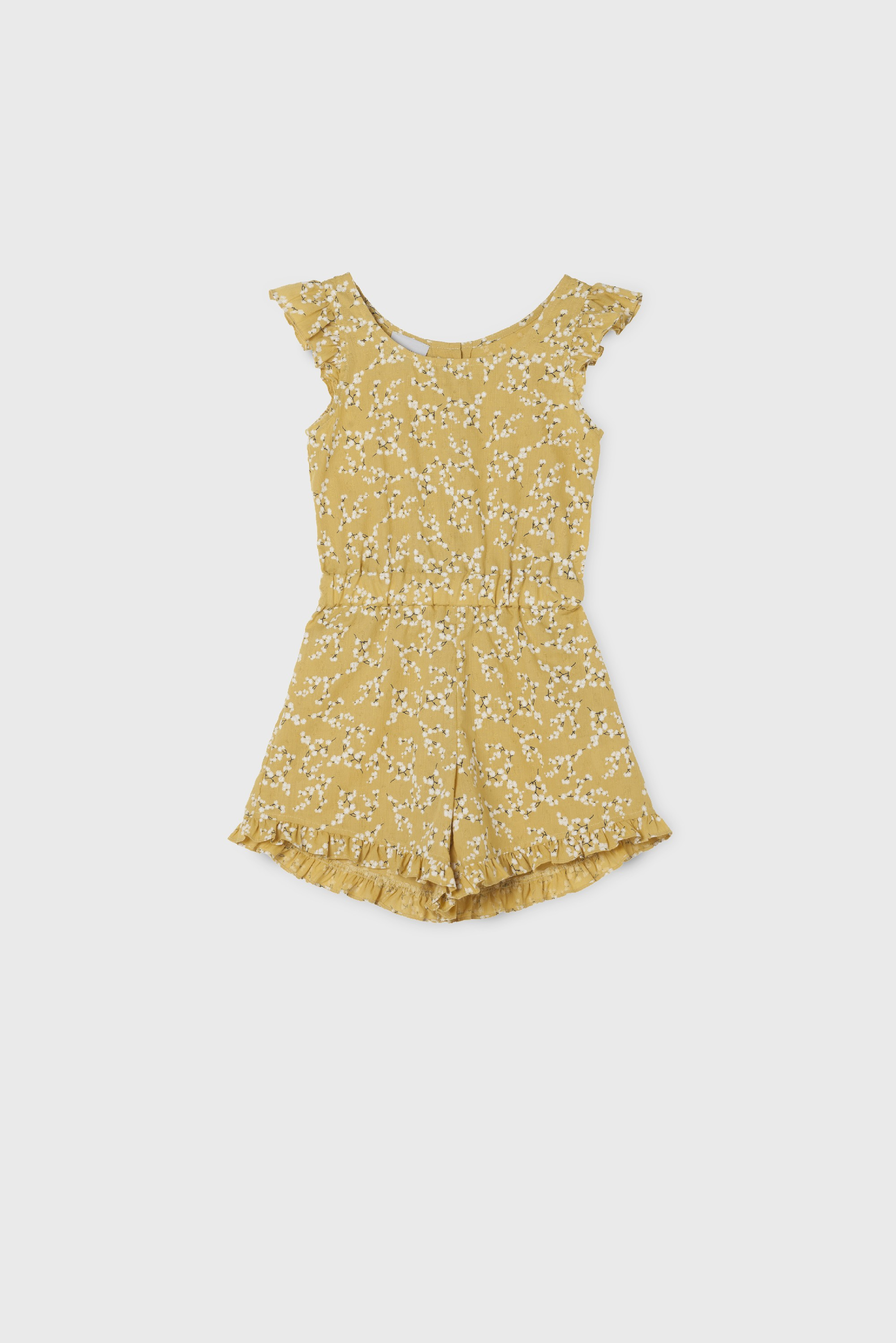 YELLOW FRILLS COTTON PLAYSUIT