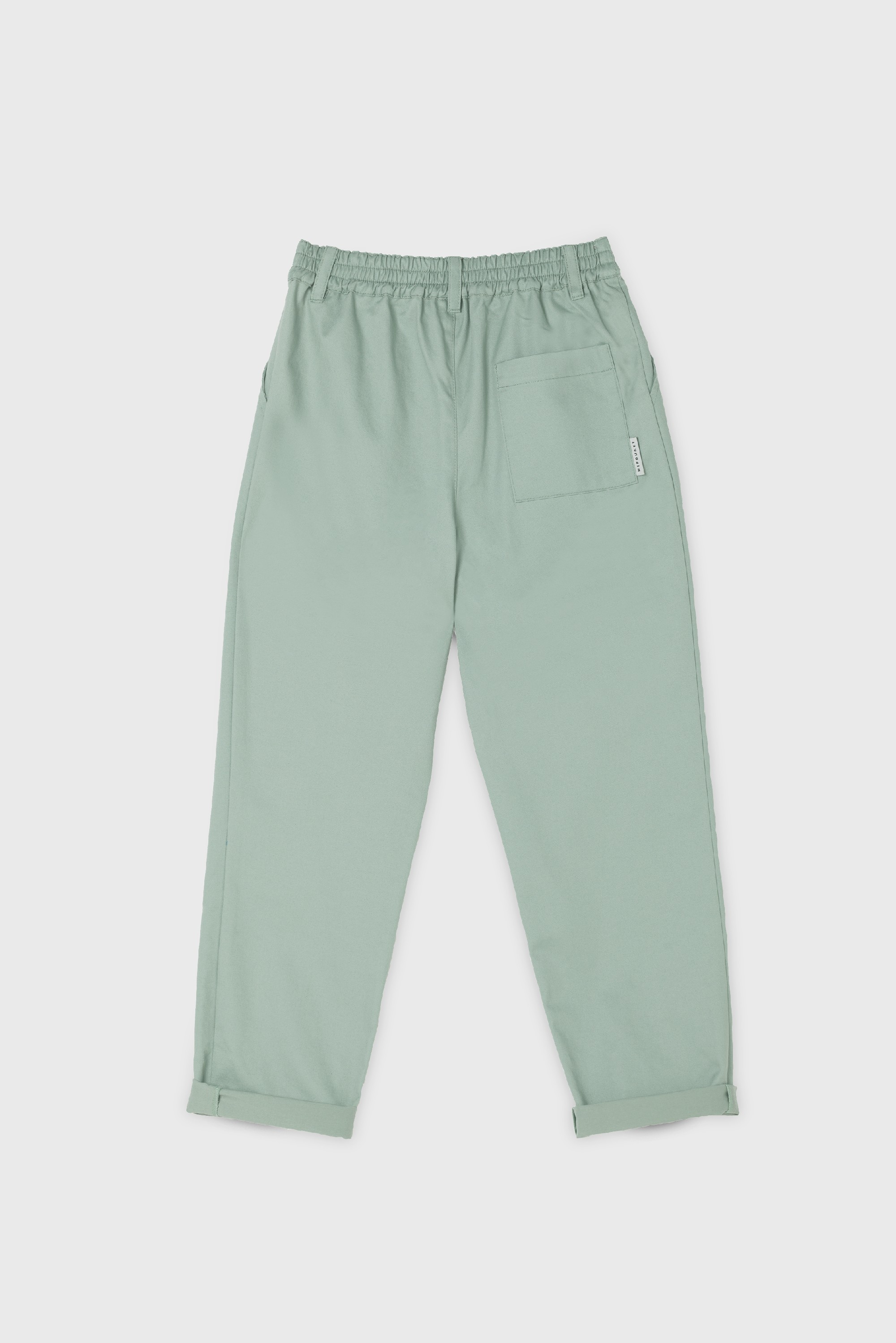 GREEN COTTON GABARDINE PLEATED PANT