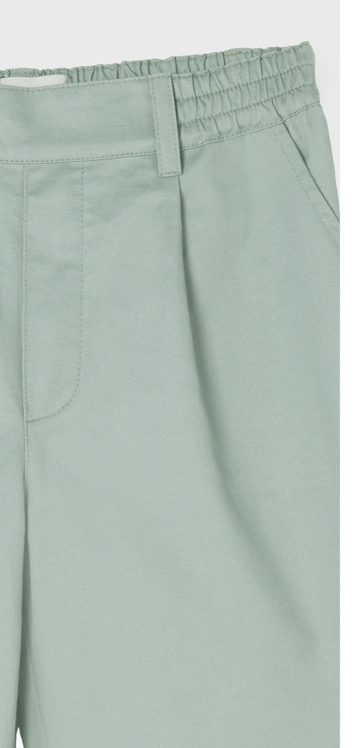 GREEN COTTON GABARDINE PLEATED PANT