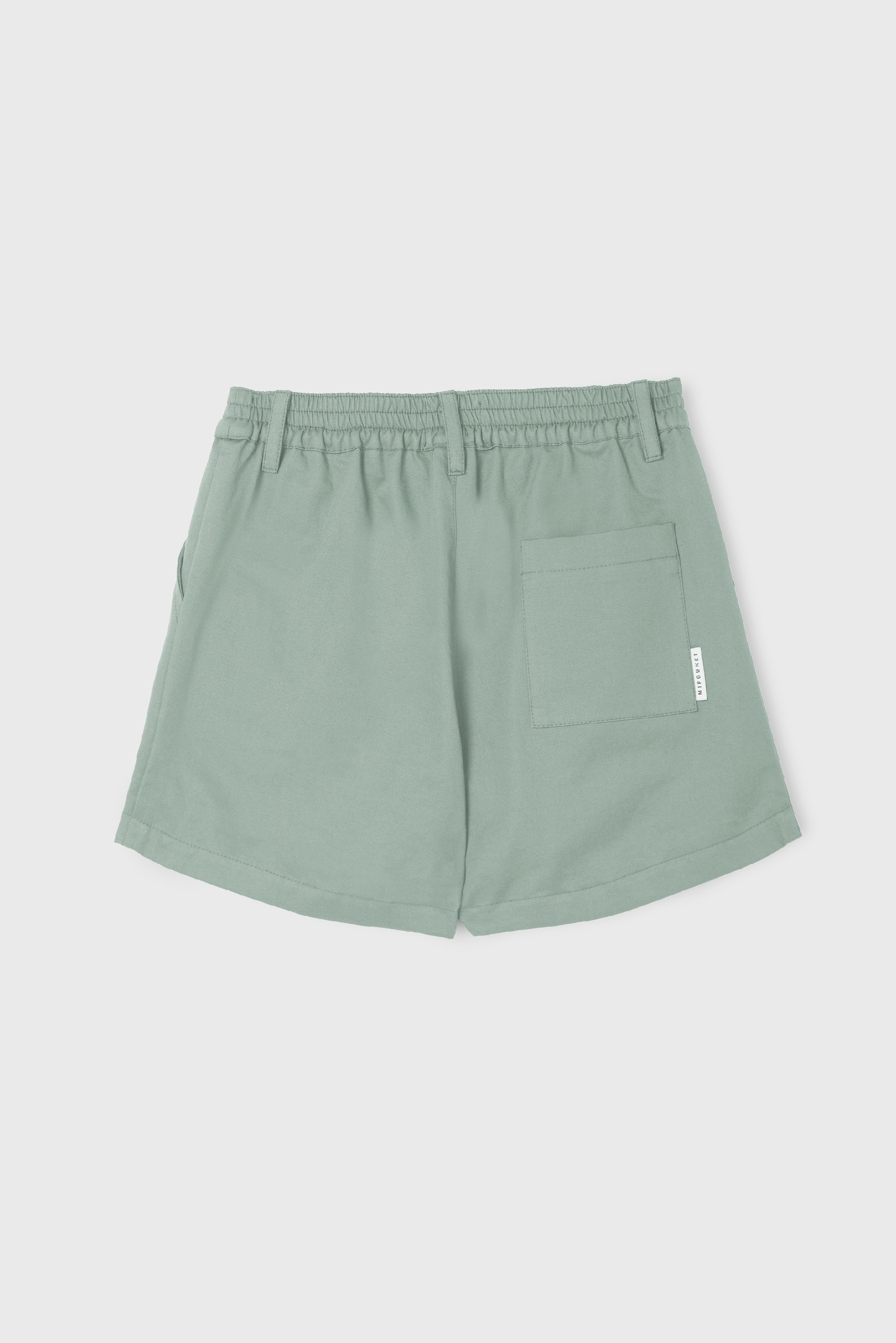 GREEN COTTON GABARDINE PLEATED SHORT