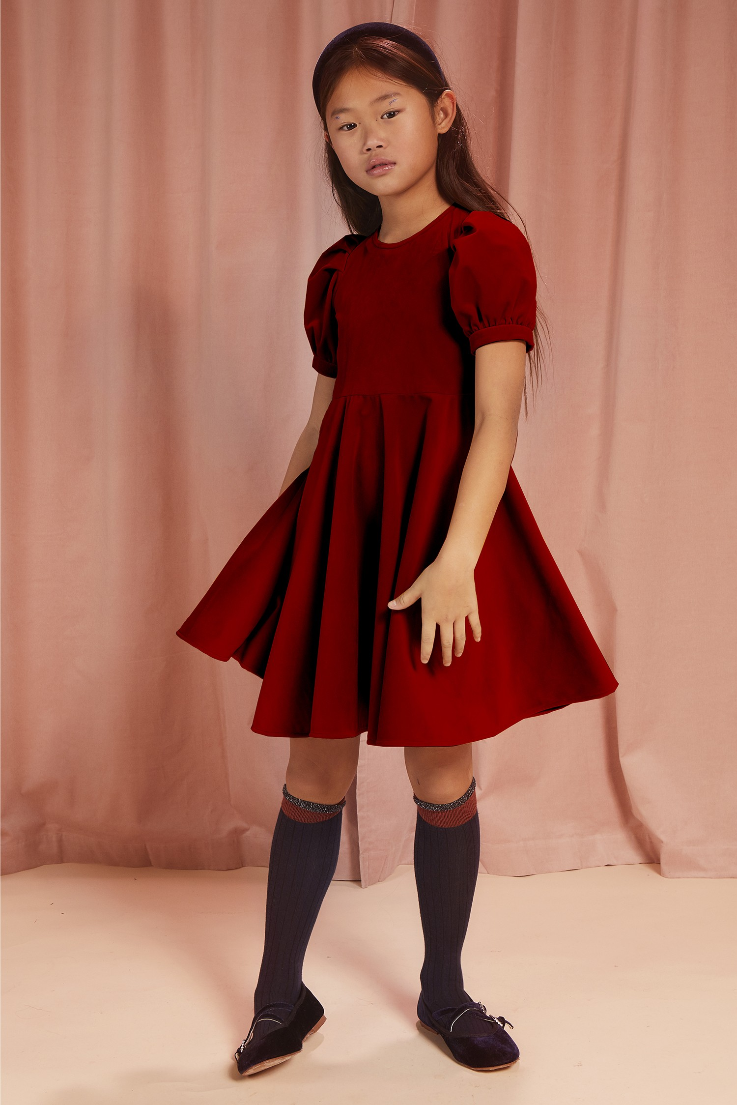 LANTERN SLEEVES VELVET DRESS