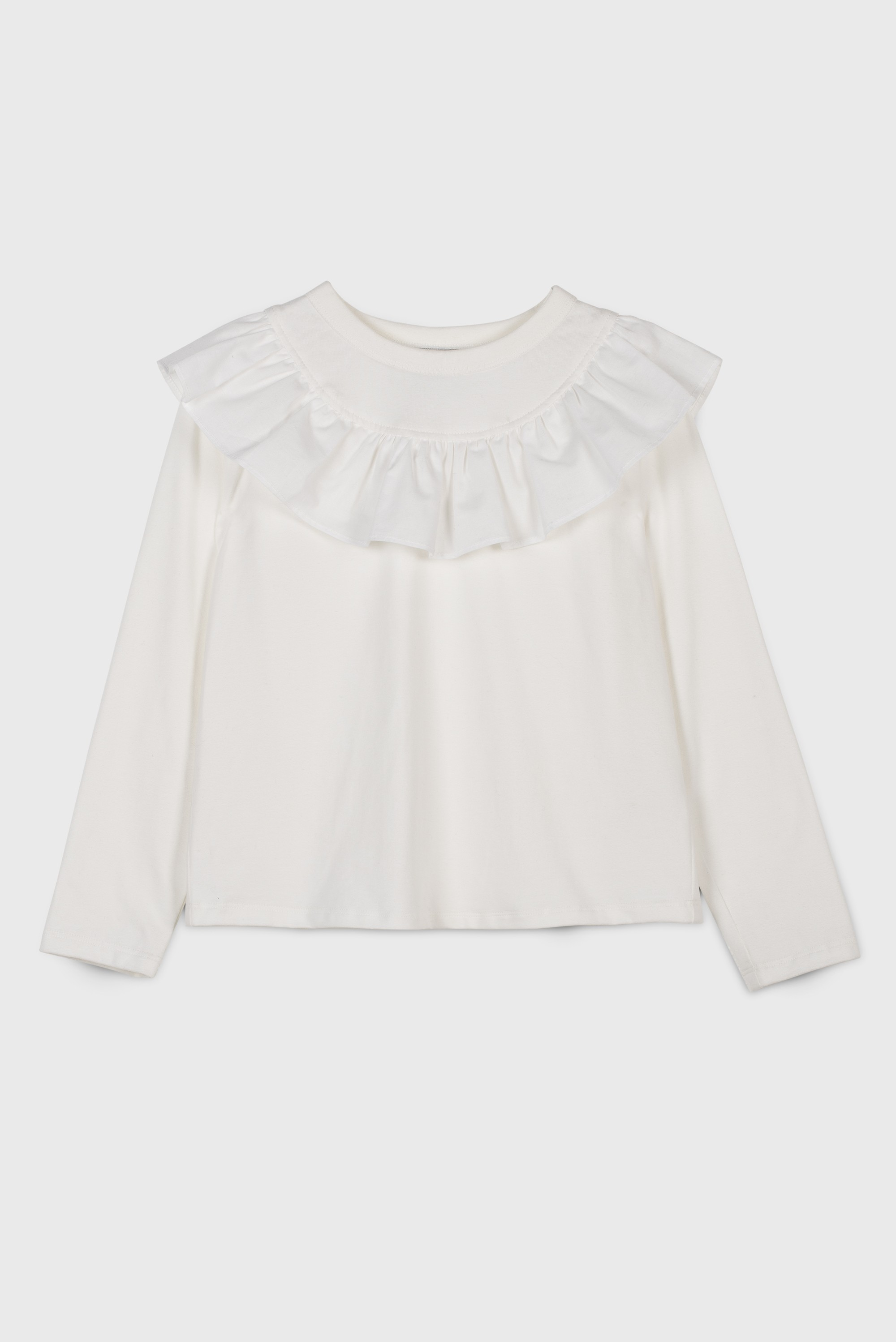 RUFFLE COLLARED T-SHIRT