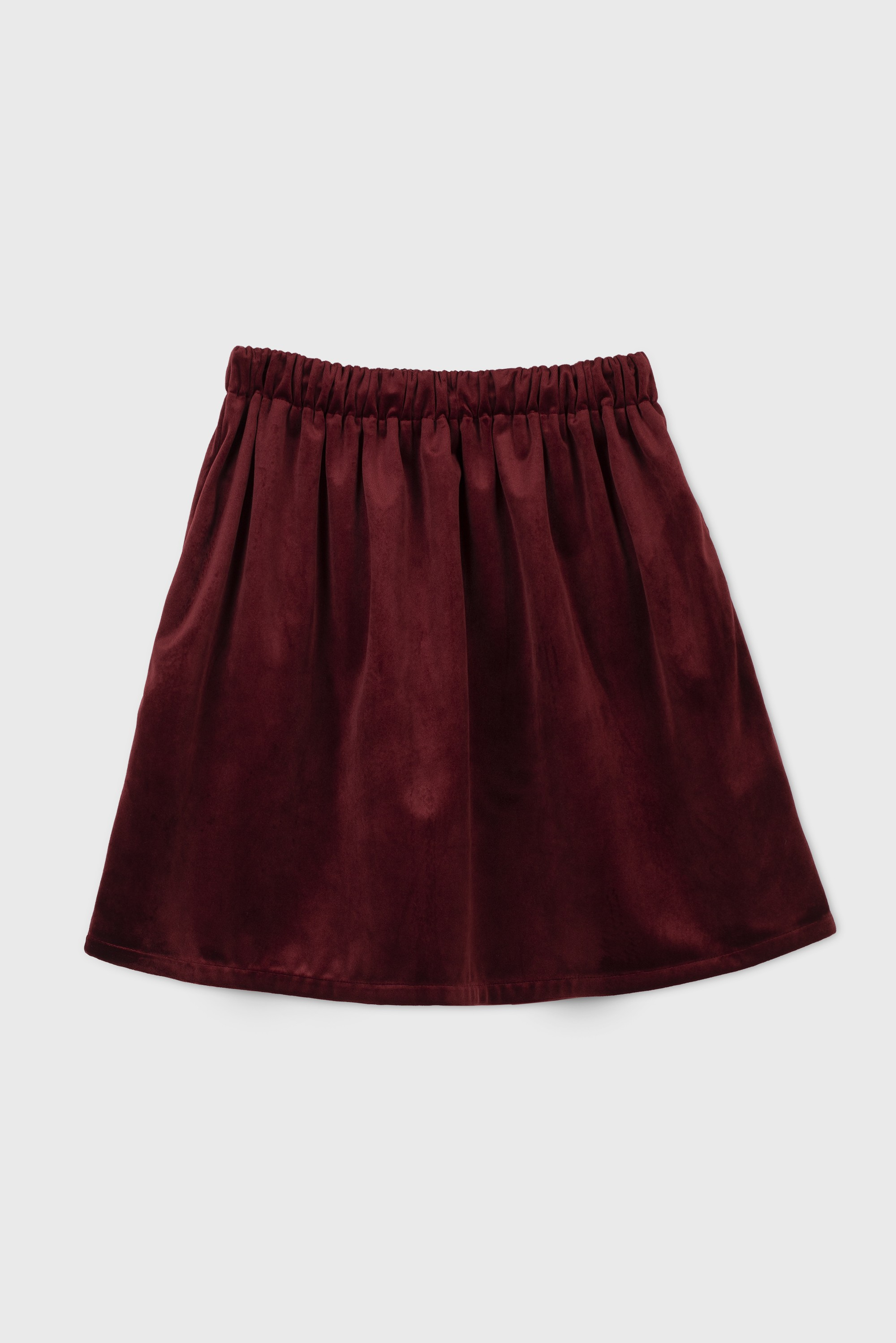 RED VELVET SHIRRED SKIRT