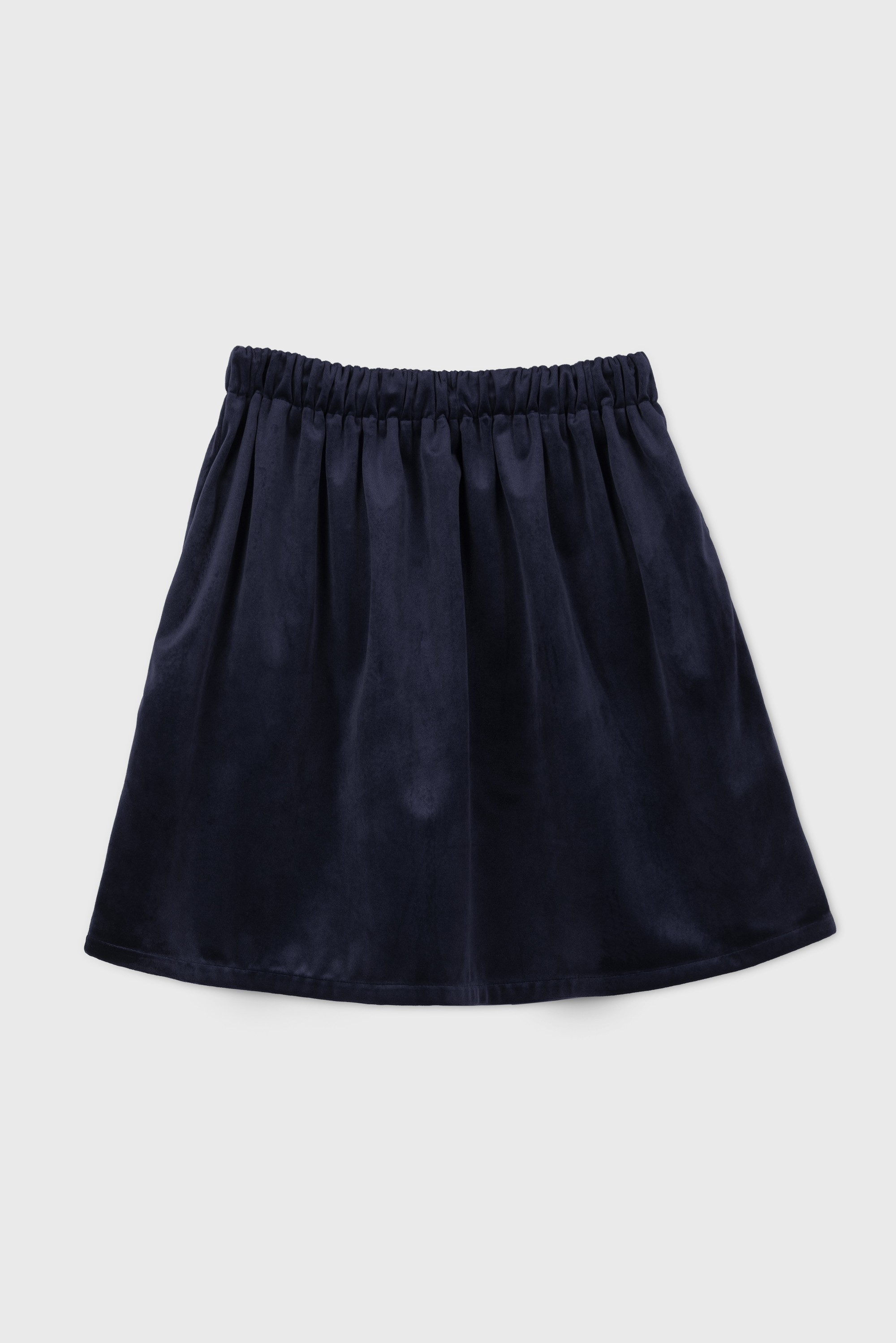 DARK BLUE VELVET SHIRRED SKIRT