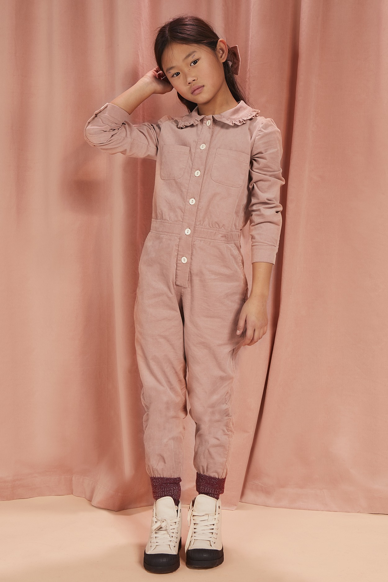 CORDUROY COLLARED JUMPSUIT