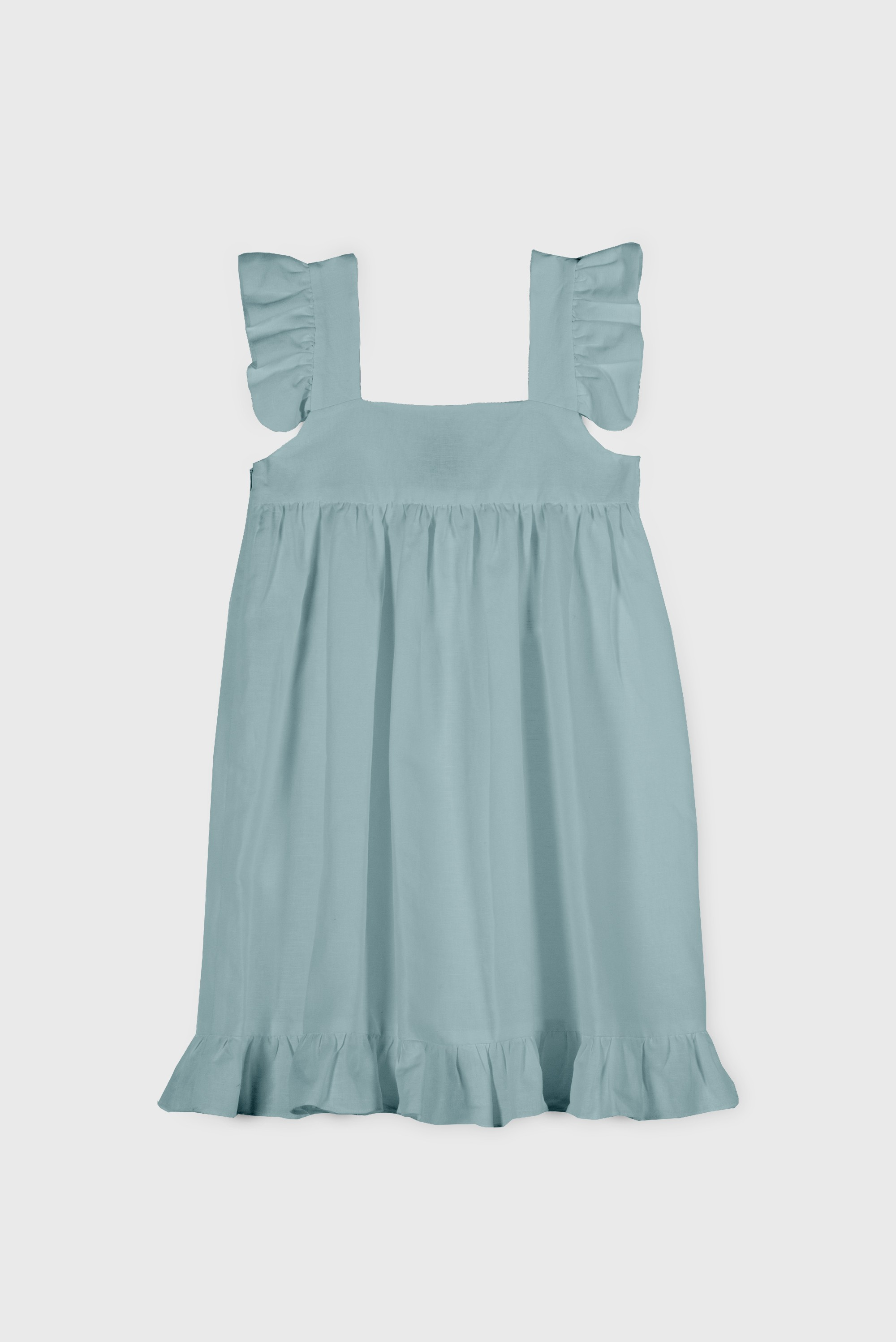 LINEN RUFFLE DRESS