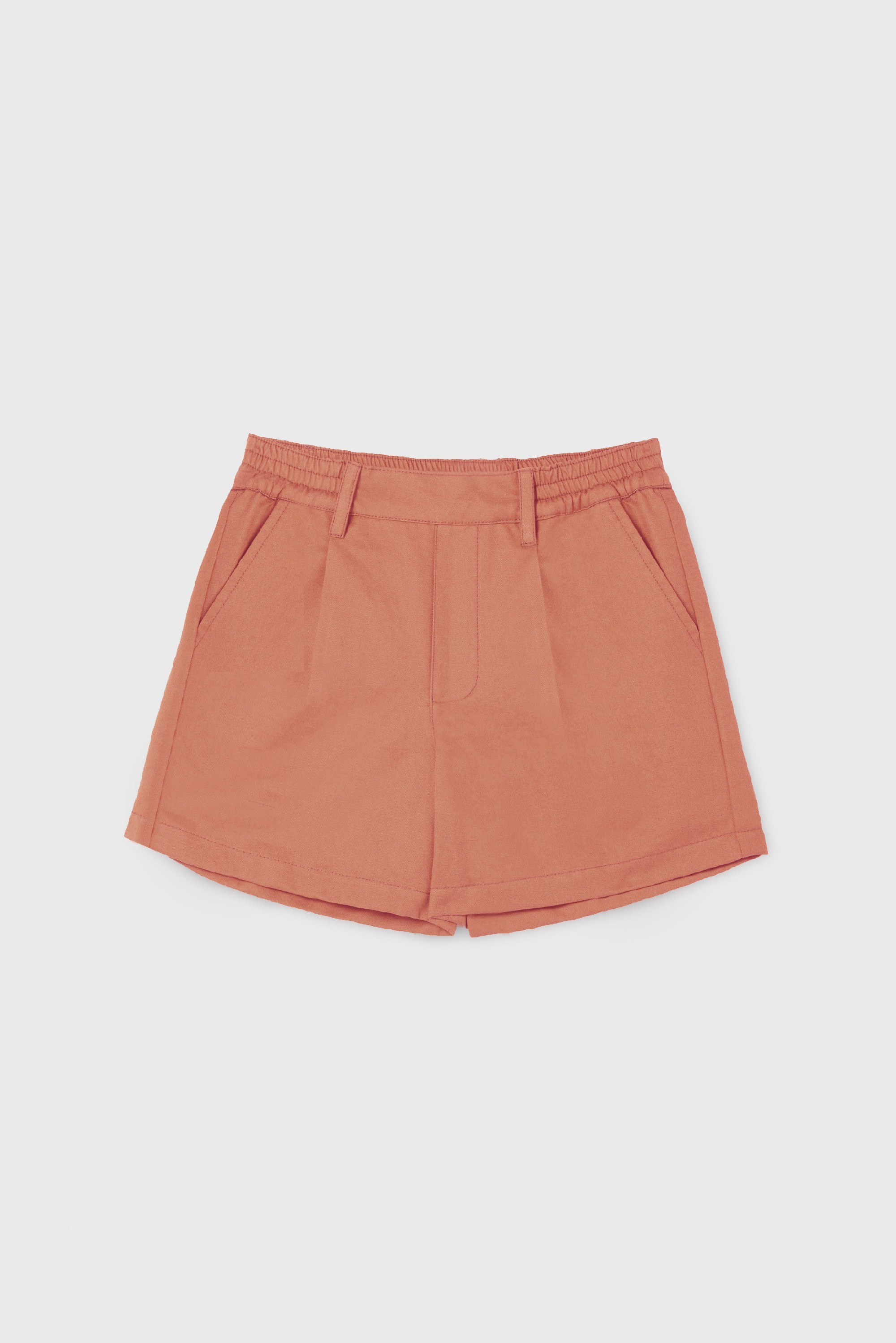 COTTON GABARDINE PLEATED SHORT